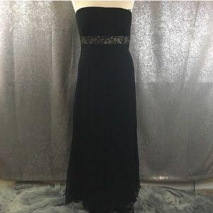 NWT Tadashi silk beaded strapless gown